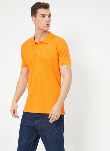 Koton Polo Yaka Kisa Kollu Slim Fit Basic T-Shirt Oranj